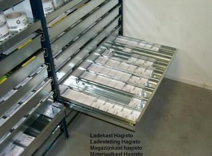 Stellingen met uitrekbare lades ladekast magazijnkast for Ladeblok 1 lade